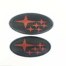 Front & Rear Carbon Fiber Red Badge Emblem Fits  W  X  S  I Free Shipping