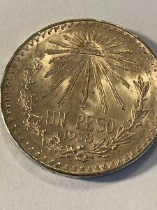 1938 EXPECTACULAR  COIN MEXICO .720 FINE SILVER CAP & RAYS 1 UN PESO CHOICE BU