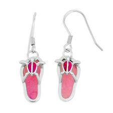 Womens red Artificial Opal sandals Dangle Ear Hook Silver Earrings Jewelry Gifts