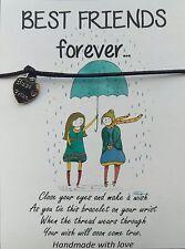 Handmade Best Friend Wish String Friendship Bracelet Black Cord BFF Card Gift