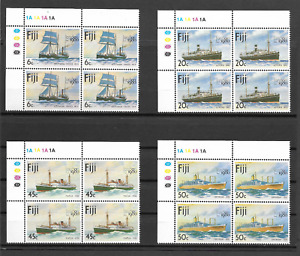 Fiji 1980 Ships (London Stamp Ex)  - MNH Traffic Light Plate Block  - Sc426-429