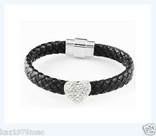 Heart zirconia Bracelet Brand New Black Braided Pu Leather with Silver