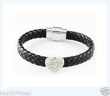 Black Braided PU Leather with Silver Heart zirconia Bracelet  BRAND NEW