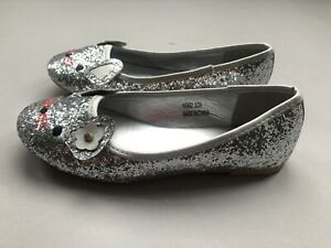 Spot On GIRLS SILVER GLITTER CUTE CAT FACE PARTY FLAT SHOES UK SIZE 2