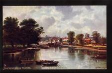 Tuck local fishing boats on river Thames Twickenham Uk postcard
