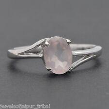 925 Sterling Silver Oval Cut Rose Quartz Gemstone Nice Ring Fashion Jewelry UK