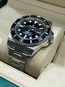 Rolex Submariner Date Stainless Steel Watch Black Dial Bezel Men