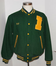 VINTAGE GREEN VARSITY/LETTERMAN JACKET! WOOL! YELLOW ACCENTS! SNAP-UP! USA! MED