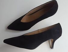 Black Faux Suede Kitten Heel Pointed Shoes Sizes UK 3 4 5 6 7 8 / EU 36 - 41