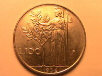1956 Italy 100 Lire Ch AU+/BU Complete Luster Hi Catalog Value Hundred Lire Coin
