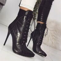 Womens Sexy Snakeskin Black Ankle Boots Lace Up Pointed Toe Stiletto Clubs Shoes