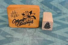 2 Stamps Co-Motion Merry Christmas Poinsettia #358 and Hope Street Christmas Tre