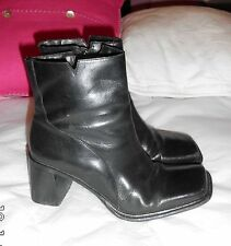 Sacha Black Real Leather ankle Boots SIZE: UK 4 EU 37