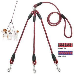 Pets Braided Rope Leash Three Way Lead Heavy Duty For Cute Puppies Walking Guide