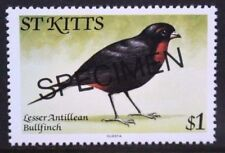 St KITTS 1981 Bird Bullfinch $1 OVERPRINTED SPECIMEN. Set of 1. MNH. SG67.