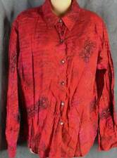 Chicos 2 Large Long Sleeve Red Print Lightweight Woven Cotton Shirt Top Chico's