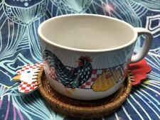 Vintage Avon Checkered Chicken Mug and Wicker Coaster Soup Bowl Euc