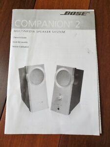 Bose Companion 2 Multimedia Owner's Guide User Manual, Original MANUAL ONLY
