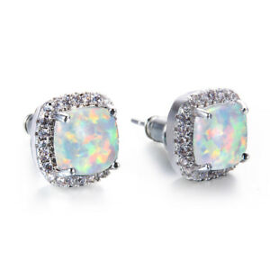 European Classical Square Cut White Fire Opal Gemstone Silver Stud Hook Earrings