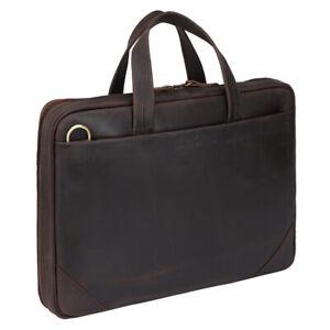"Men Full Grain Leather Office Briefcase 15"" Laptop Bag Computer Bag Handbag TOTE"