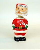"VTG Ceramic SANTA Chalkware bobble head Christmas Bank 60s ""save for xmas"""