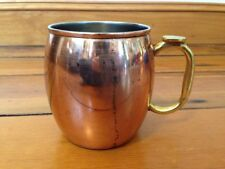 Vtg Style Oggi Copper Moscow Mule Brass Handle Metal Cup Mug 20 oz Distressed