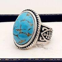 Vintage Turquoise Peking Glass Stone Celtic Design Antique Silver Ring Size P