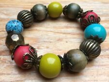 Fab Rainbow Kitsch Bracelet/ Bobble Style/Wooden/Plastic/Hippy/Boho 70's/Retro