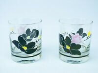 2 Whisky Glass Tumblers 1960 Vintage Retro Rock Black Flower Mid Century Modern
