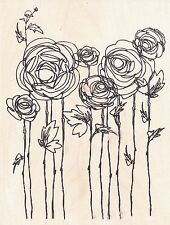 Ranunculus Field R112  Flowers  STAMPENDOUS RUBBER STAMP  w/m Free Shipping NEW