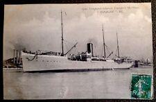 "CPA. ""ESPAGNE"". Compagnie Générale Transports Maritimes. 1913. Navire. Bateau."