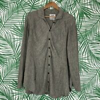 Flax Gray Linen Button Down Pocket Tunic Top Women's Size Small