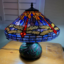 Tiffany Style Stained Glass Reading Accent Table Lamp Dragonfly Theme - NEW
