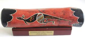 Australian Aboriginal EMU CALLER Wooden Handpainted Kangaroo signed J Crow