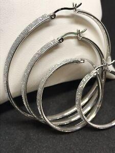 925 Genuine Sterling Silver 4mm Flat MOON DUST Hoop EARRINGS  width ALL SIZES