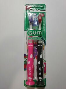 Twin Pack GUM Junior Monsterz Toothbrush 902 Soft Ages 5+ PINK and BLACK