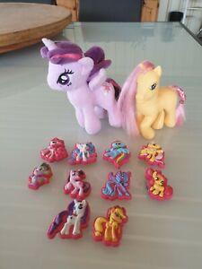 My Little Pony Purple Plush, Yellow Pony & 10 Suction Cap Figures