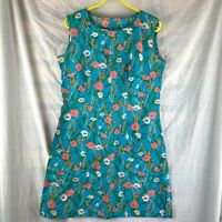 Vintage Handmade Blue Floral Fit and Flare Sleeveless Midi Dress Size 14-16