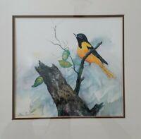 "Irene Ferriman ""Baltimore Oriole"" Original Watercolor Artist Signed"