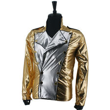 Rare MJ Michael Jackson History BAD Golden Spandex Double Breasted Woven Jacket