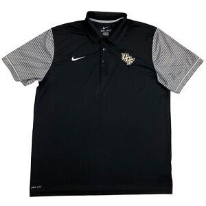 Nike Mens XL UCF Knights Black Gray Dri Fit Short Sleeve Mens Polo Shirt *