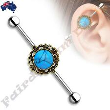 316L SSteel Industrial Barbell with Burnish Gold Round Turquoise Filigree Centre