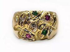 Vintage 18K Yellow Gold Natural Diamond, Green Emerald & Red Ruby Ring