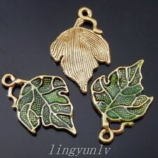 20 Pieces Antiqued Bronze Alloy Green Leaf Charms Pendants Fashion Jewelry 50112