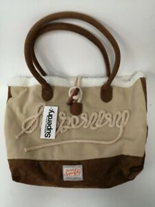 Superdry Cream And Brown Tote / Hand Bag Good Condition With Tag  #114