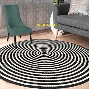 Rug 100% Cotton Handmade Reversible Round Braided Carpet Living Modern Area Rug