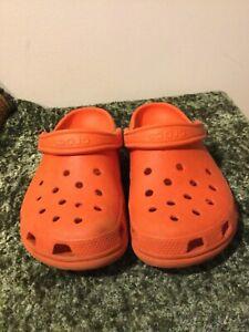 Crocs Orange Rubber Slides Mules Shoes 6 Mens 8 Womens