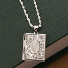Women Men 925 Silver Photo Frame Floating Locket Book Pendant Chain Necklace