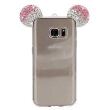 Samsung Galaxy S7 - Pink Diamond Rhinestone Minnie Mouse Ears Rubber Gummy Case