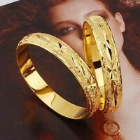 2Pcs Women Carved Bangle 18k Yellow Gold Filled 60MM Bracelet Fashion Jewelry